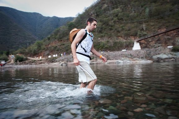 Crossing the Urique River. 2010. Photo by Ryan Heffernan.