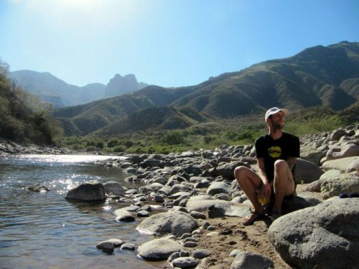 Bookis relaxing next to the Urique River, 2013